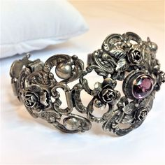 Vintage Signed Peruzzi Florence Sterling Silver Bracelet / 3.50 TCW Amethyst #PeruzziFlorence