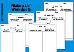 Make a List Worksheets - work on the component skills needed to be a good writer! by theautismhelper.com