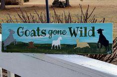 Goat Sign Goats gone wild Farm Sign reclaimed wood goats
