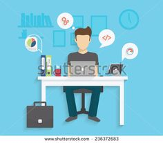 Man Is Working With Laptop. Flat Modern Illustration Of Working Process - 236372683 : Shutterstock