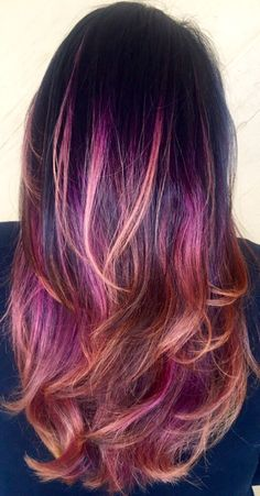 Dark Brown with Purple/pink-peach ombre