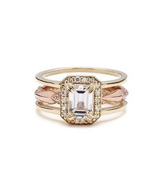 11 Jaw-Dropping Rings Worth Getting Married For: Anna Sheffield Attelage Emerald Cut Diamond Bridal Set ($11,000)