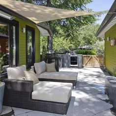Exterior Design: Shade Sails In Contemporary Patio Design With Concrete Paving And Container Plants Also Wooden Garden Gate With Green Siding And Outdoor Cushions Plus Outdoor Tanning Chairs Also Glass Door For Build Patio Canopy Outdoor Rooms, Small Backyard, Backyard Design, Patio Design, Exterior Design, Backyard Canopy, Small Backyard Design, Shade Sail, Diy Canopy