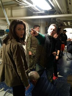 Steven Kane, Bridget Regan Travis Van Winkle on set of The Last Ship season three. #thelastship