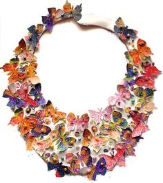 Beaded Leather Necklace with Butterflies in Gorgeous Purple