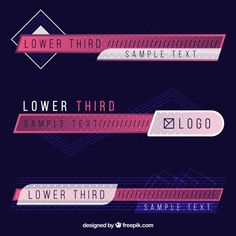 Set of elegant lower thirds Free Vector Channel Branding, Lower Thirds, Origami Templates, Box Templates, Text Layout, Web Banner Design, Text Design, Banner Template, Vector Free