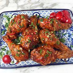 Korean Fried Chicken in a gochujang chile garlic sauce drumsticks