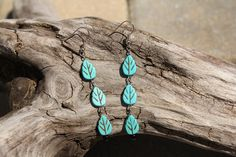 Turquoise Howlite 3-Leaf Dangle Earrings by OutdoorsmanCreations on Etsy