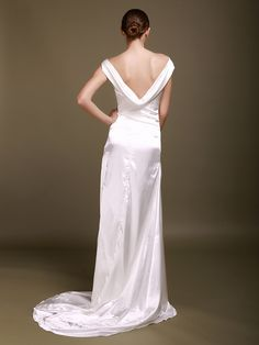 Cowl Neck Silk Like Satin Wedding Gown with Chapel Train