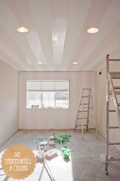 how to paint striped ceilings