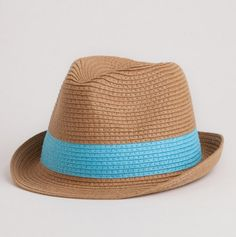 Colorblock Fedora blue brown