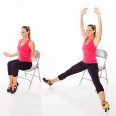 Cardio Workouts Is this the most deceiving workout ever? These toning exercises will give you a full-body strength and cardio workout while sitting in a chair. Full Body Workouts, Full Body Workout Routine, Toning Workouts, At Home Workouts, Aerobic Exercises, Fitness Video, Fitness Tips, Fitness Senior, Senior Workout