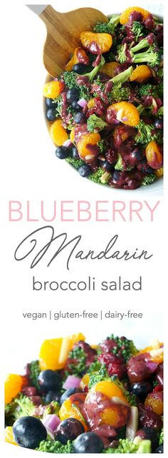 Craving a refreshing and colourful salad? This Blueberry Mandarin Broccoli salad is bursting with flavour, colour and nutrients. With its mouthwatering blueberry balsamic vinaigrette, it makes the perfect healthy and mayo-free summer salad to serve at barbecues and potlucks! {Dairy-free, gluten-free & vegan} | Haute & Healthy Living