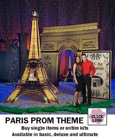 Buy Paris themed decorations for proms, homecoming dances and other party events.  Available by the piece or as kits.  Basic kit starts at $399.00