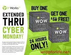 "You thought it was over?! We're not finished yet! You've got 24 more hours to get your BOGO on!   Get your Lip & Eye with Exfoliating Peel set. Plus, get ready to say ""WOW"" and make this #CyberMonday one to remember!  wrapforlife.net  #itworks #wraps #wow #shop #christmasgift #christmas"