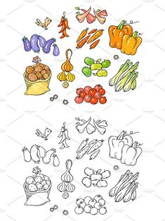Vegetable Design, Fruits And Vegetables, Vector File, Cartoon, Canning, Black And White, Color, Fruits And Veggies, Black N White