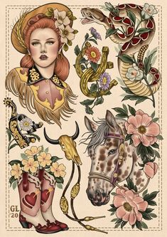 Cowboy Boot Tattoo, Cowgirl Tattoos, Western Tattoos, Head Tattoos, Body Art Tattoos, Sleeve Tattoos, Strawberry Tattoo, Theme Tattoo, Tatuagem Old School