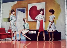 Quite possibly the most beautiful editorial of the year. Very Mad Men ... love all the illustrated backdrops, so well done. Photographed by Craig McDean and styled by the wonderful Grace Coddington for Vogue US.