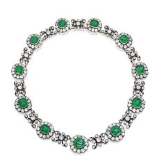 One of my favourite pieces from the upcoming Sotheby's New York sale is this wonderful diamond and emerald necklace that was owned by the original 'Dollar Princess' Consuelo Ynzaga who became Duchess of Manchester after marrying George Montagu 8th Duke of Manchester in 1876. With beautiful cushion-cut emeralds, old-mine and rose-cut diamonds and a lovely cluster and scroll design, I wonder how close it will come to its $350-450,000 estimate.