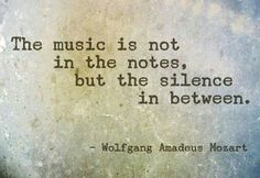 """""""The music is not in the notes but in the silence in between."""" - Wolfgang Amadeus Mozart"""