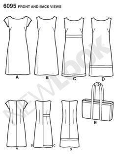 New Look easy sewing pattern. Misses' sleeveless or cap-sleeved shift dress with trim variations and tote bag. New Look Patterns, Easy Sewing Patterns, Clothing Patterns, Sewing Projects For Beginners, Sewing Tutorials, Sewing Tips, Barbie Vintage, Diy Couture, Miss Dress