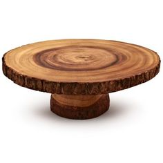 Wood Projects Sur La Table - Wood Slice Cake Stand - EXCLUSIVE HAND MADE Rustic wood slice cake stand is a great way to display your homemade creations. Due to natural variations in the materials, no two stands are exactly alike. Tree Slices, Wood Slices, Popular Woodworking, Woodworking Projects, Woodworking Apron, Woodworking Machinery, Woodworking Furniture, Teds Woodworking, Unique Woodworking