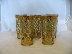 Bewitched - vintage set of 5 gold and green glasses