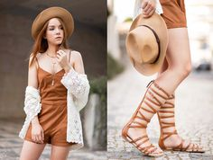 How to wear suits? #hat #sandals #brown #lace
