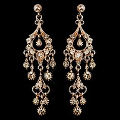 """Rose Gold Chandelier Wedding and Prom Earrings - over 3"""" long!"""