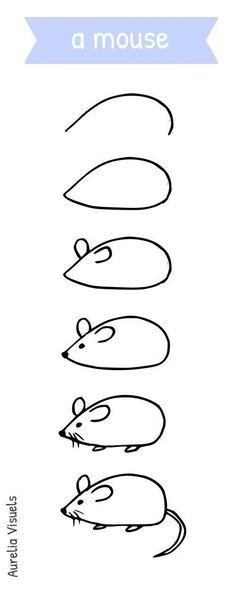 We draw 2 3 8 small drawings explained in stages good workout Aurelia Visuals On dessine 2 3 8 petits dessins expliqu s par tapes bon entra nement Aurelia Visuels mouse-drawing- Aurelia visuals Art Drawings For Kids, Doodle Drawings, Animal Drawings, Doodle Art, Easy Drawings, Art For Kids, Hipster Drawings, Drawing Animals, Easy Drawing For Kids