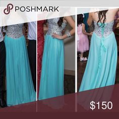 Tiffany blue strapless prom dress Tiffany blue strapless sweetheart prom dress with silver rhinestones. Adjustable corset back. Worn once. Perfect condition. Size XS. Dresses Prom