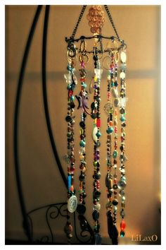 Bohemian Boho Inspired Mobile Suncatcher Hanging - Home Garden Decor - Beads and Random Findings - Live Now on Etsy, $95.00