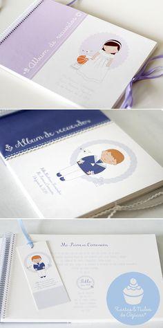 Álbum de recuerdos personalizado Primera Comunion Ideas Bautizo, Diy Notebook, Cute Stationery, Memory Books, Free Prints, First Communion, Baby Cards, Photo Book, Mini Albums