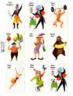 Circus cards golden book illustration style @Joel Freixas Glass