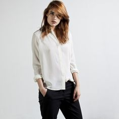 Classic white silk blouse (everlane again, sensing a pattern?).  Structured style in a flowy-er fit (although cut a little closer, please?)
