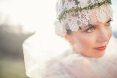 greenery and lace juliet cap bridal idea