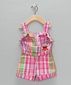 This one too - I love rompers! Take a look at this Pink Plaid Elmo Romper - Toddler  by Sesame Street Girls on #zulily today!