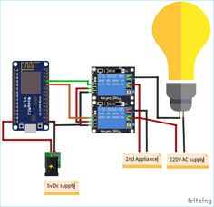 Alexa Controlled IoT Home Automation by Emulating a WeMo Device using NodeMCU Arduino Home Automation, Home Automation Project, Home Automation System, Iot Projects, Arduino Projects, Hobby Electronics, Electronics Projects, Alexa Home, Amazon Alexa Skills