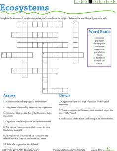Worksheets: Life Science Crossword: Ecosystems