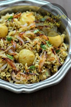 Baby potato biryani recipe, learn how to make baby potato biryani, a flavourful and easy vegetarian biryani recipe with baby potatoes. Rice Recipes, Indian Food Recipes, Chicken Recipes, Cooking Recipes, Ethnic Recipes, Indian Snacks, Recipies, Indian Appetizers, Recipe Chicken