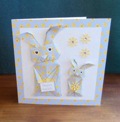 Origami Easter Bunny in blue