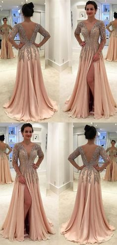 unique light champagne long sleeves prom dresses, modest v neck evening gowns with beading, elegant v back party dresses with high slit