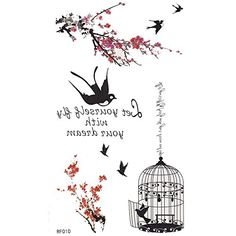 King Horse Tree Branches and Birdcage Temporary Tattoo. Temporary Tattoo Sticker. Tattoo Will Last About 4-6 Days. Safe for the Skin,Waterproof and Environmentally Friendly in Eu and Us Quality Standard. Easy to Wear and Easy to Remove. Perfect for the Beach, the Pool, Parties, Festivals, Concerts.