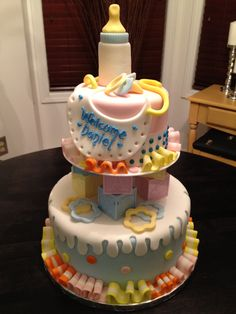 the candy baby shower cake...  sweet mary's. new haven. ct