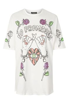 'No Promises' Motif Sequin T-Shirt - Tops - Clothing - Topshop