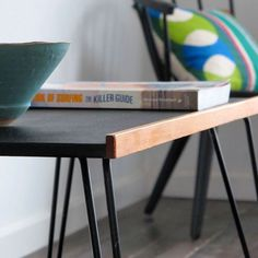 Vintage hairpin-legged side table...