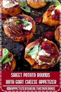 4.7 ★★★★★ - Easy and  Festive Sweet Potato Goat Cheese Appetizer with Cranberries & Honey Balsamic Glaze, finished with a blood orange infused olive oil and fresh basil!#Healthy Appetizers easy#Appetizers Health Coverage#Healthy Appetizers