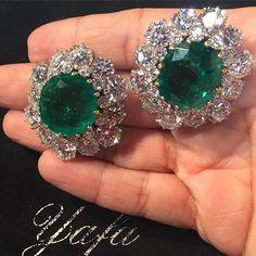 BULGARI Columbian Emerald and Diamond Earrings, approx. 15cts each