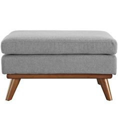 Modway Engage Mid-Century Modern Upholstered Fabric Ottoman In Expectation Gray