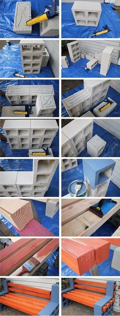 wood and breeze block bench Builders Warehouse, Local Builders, Cinder Block Bench, Cinder Blocks, Garden Projects, Garden Ideas, Backyard Ideas, Make Your Own, Make It Yourself